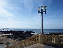 Sea meets City. Douro river mouth at Passeio Alegre, Oporto Royalty Free Stock Photos