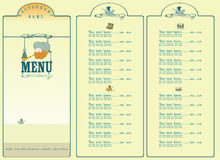 Sea menu. Picture contains the images of  ship, sea, sea chest, fish, places for text and price Stock Photos