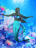 Sea Mermaid. The Mermaid is a legendary aquatic creature with the upper body of a woman and the tail of a fish Royalty Free Stock Image