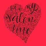 Sea mi cita de la tarjeta del día de San Valentín en forma del hogar en fondo rojo stock de ilustración