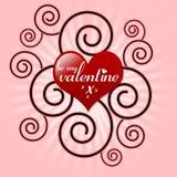 Sea mi corazón y remolino de la tarjeta del día de San Valentín Foto de archivo libre de regalías
