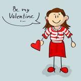 Sea mi historieta de la mujer de la tarjeta del día de San Valentín Imagen de archivo libre de regalías