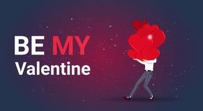 Sea mi pila de Valentine Greeting Card Man Holding de concepto del día de fiesta del día del amor de los corazones libre illustration
