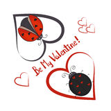 Sea mi plantilla de la tarjeta de la tarjeta del día de San Valentín Pares de mariquitas lindas Imagen de archivo libre de regalías