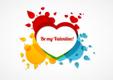 Sea mi tarjeta colorida de la tarjeta del día de San Valentín Fotos de archivo