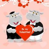 Sea mi tarjeta de felicitación de las letras de la tarjeta del día de San Valentín con dos hipopótamos lindos en amor Fotografía de archivo