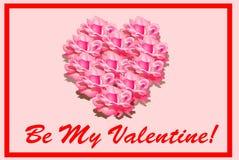 Sea mi tarjeta del día de San Valentín - corazón de rosas ilustración del vector