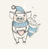 Sea mi tarjeta del día de San Valentín Tarjeta divertida con un cerdo en un sombrero y una bufanda stock de ilustración