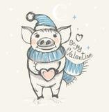 Sea mi tarjeta del día de San Valentín Tarjeta divertida con un cerdo en un sombrero y una bufanda ilustración del vector