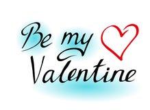 Sea mi tarjeta del día de San Valentín Letras en un fondo blanco Objeto aislado Ejemplo del vector en tres colores Postal o decor stock de ilustración