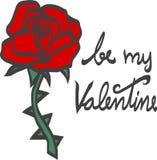 Sea mi tarjeta del día de San Valentín subió con el ejemplo de la espina Foto de archivo libre de regalías