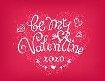Sea mi texto decorativo manuscrito de la tarjeta del día de San Valentín Mano Foto de archivo libre de regalías