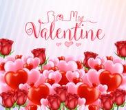 Sea mi Valentine Greeting Poster con las porciones de corazones rojos y rosados libre illustration