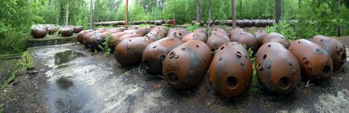 Sea mines in forest Royalty Free Stock Images