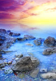 Sea and mist. During sundown. Natural composition Royalty Free Stock Photo