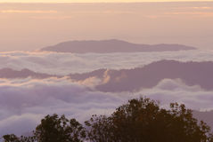 A sea of mist at dawn Stock Photo