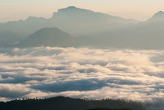 A sea of mist at dawn Stock Image