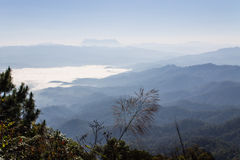 Sea Of Mist With Doi Luang Chiang Dao, View Form Doi Dam in Wianghaeng Royalty Free Stock Photos