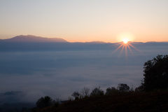 Sea of mist. First light on the sea of mist, sunrise photography Stock Photos