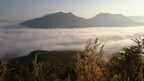 Sea-mist. Fog view background mountain royalty free stock photography