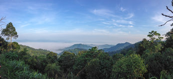 Sea of mist. On the hill we can see the wonderful of landscape Royalty Free Stock Photography