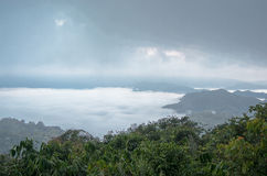 Sea of mist on the mountain. blur background. Shot in Kaeng Krachan National Park Stock Image