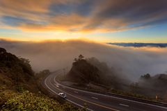The sea of mist over the mountains and beautiful misty landscape at Doi Inthanon National Park in northern of Thailand royalty free stock image