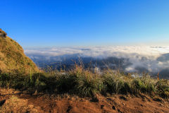 Sea of mist at Phu Chi Fa. A mountain area and national forest park in Thailand,a part of Doi Pha Mon,located at the northeastern end of Phi Pan Nam Range,Thoeng Stock Photography
