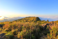 Sea of mist at Phu Chi Fa. A mountain area and national forest park in Thailand,a part of Doi Pha Mon,located at the northeastern end of Phi Pan Nam Range,Thoeng Stock Photo