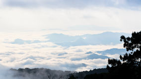 Sea of mist on sunrise. View from high mountain Royalty Free Stock Photography