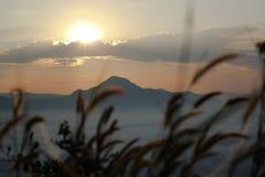 Sea of mist and sunset on mountain Stock Photo