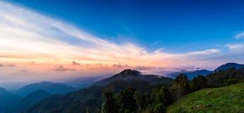 Mon Sone View Point, Doi Pha Hom Pok National Park, Angkhang mou. Sea of mist, Tourists and Campground tents, View from Mon Sone View Point, Doi Pha Hom Pok Stock Photo