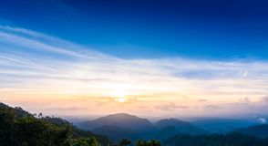 Mon Sone View Point, Doi Pha Hom Pok National Park, Angkhang mou. Sea of mist, Tourists and Campground tents, View from Mon Sone View Point, Doi Pha Hom Pok Stock Photography