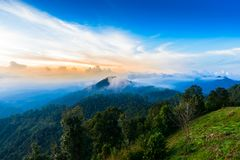 Mon Sone View Point, Doi Pha Hom Pok National Park, Angkhang mou. Sea of mist, Tourists and Campground tents, View from Mon Sone View Point, Doi Pha Hom Pok Stock Image