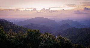 Mon Sone View Point, Doi Pha Hom Pok National Park, Angkhang mou. Sea of mist, Tourists and Campground tents, View from Mon Sone View Point, Doi Pha Hom Pok stock photo