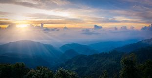 Mon Sone View Point, Doi Pha Hom Pok National Park, Angkhang mou. Sea of mist, Tourists and Campground tents, View from Mon Sone View Point, Doi Pha Hom Pok royalty free stock photos