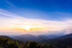 Mon Sone View Point, Doi Pha Hom Pok National Park, Angkhang mou. Sea of mist, Tourists and Campground tents, View from Mon Sone View Point, Doi Pha Hom Pok Stock Photos