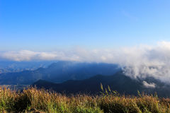 Sea of mistseen from Phu Chi Fa. A mountain area and national forest park in Thailand,a part of Doi Pha Mon,located at the northeastern end of Phi Pan Nam Range Royalty Free Stock Image