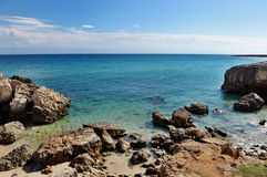 Sea of Monopoli in summer, Apulia, Southern Italy - holiday destination Royalty Free Stock Photo