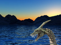 Sea Monster 2. An image of a scary snake like sea monster, it would be good for fear and Halloween concepts Royalty Free Stock Photography