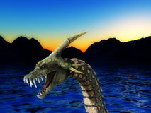 Sea Monster. An image of a scary snake like sea monster, it would be good for fear and Halloween concepts royalty free illustration