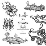 Sea Monster Illustrations. Hand drawn illustration of vintage sea monsters Royalty Free Stock Photo