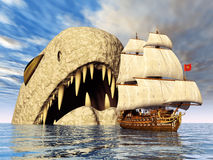 Sea Monster with Sailing Ship Stock Images