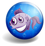 Sea monster swimming on blue badge Royalty Free Stock Photography