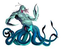 Sea monster with tentacles and claws. Vector character stock illustration