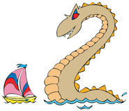 Sea monster and yacht Stock Photos