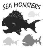 Sea monsters set. Stock Photos