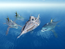 Sea Monsters and Submarine Stock Images