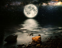 Sea. Month on a background star sky reflected in the sea. Elements of this image furnished by NASA Stock Photography