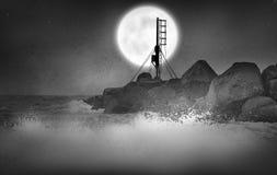 Sea Moon royalty free stock photography